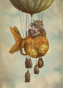 Whimsical Flights by Eric Fan {steampunk cat in flying fish}