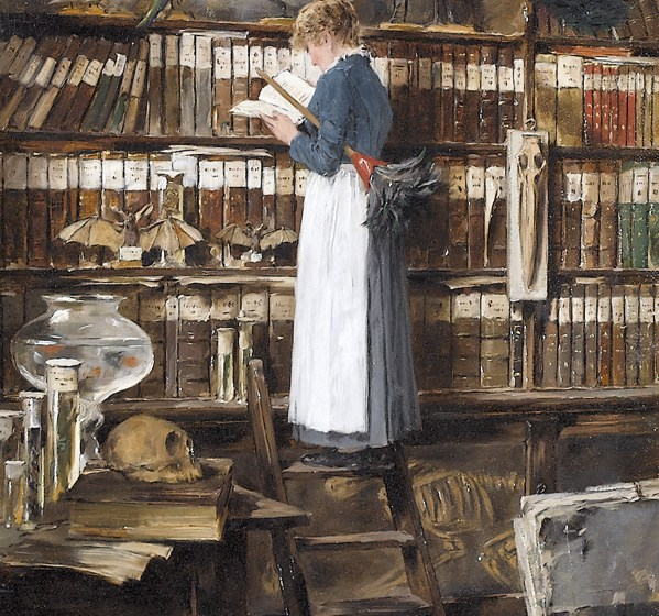 Maid Reading in a Library