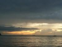 Sun sinks below the horizon.