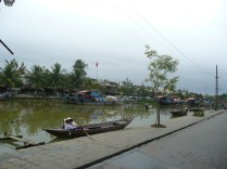 Boats in the river that runs through town