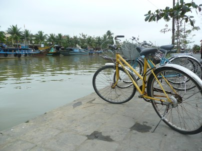 Bikes parked along the river