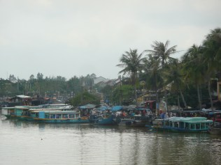 Boats parked along town