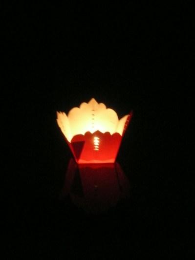 Lantern floating along the river