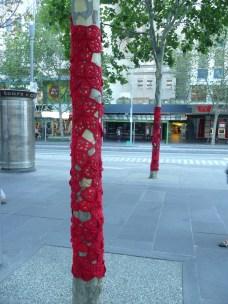 Yarn bomb public art installation