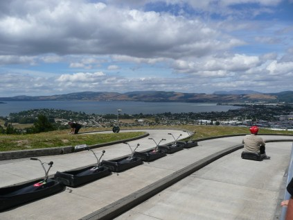 View of Lake Rotorua from the top of the luge