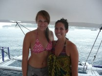 Bianca and I on a boat