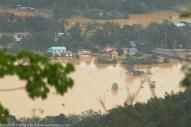 Kiulu 15 Januari 2014.Keadaan banjir di Kg. Kauluan dilihat daripada Jalan Bungoliu.