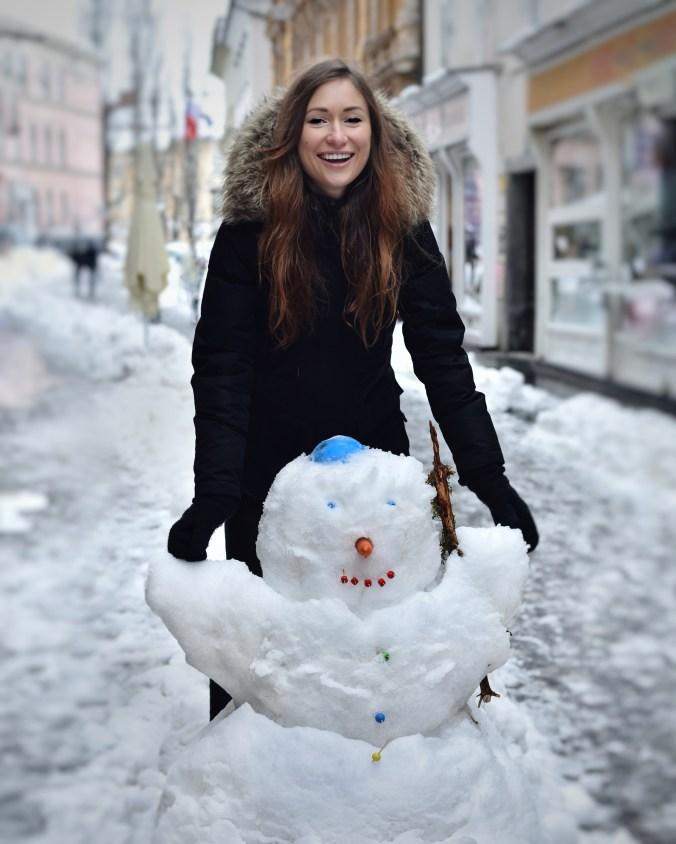 Snowman and Snowy Day in Ljubljana Slovenia