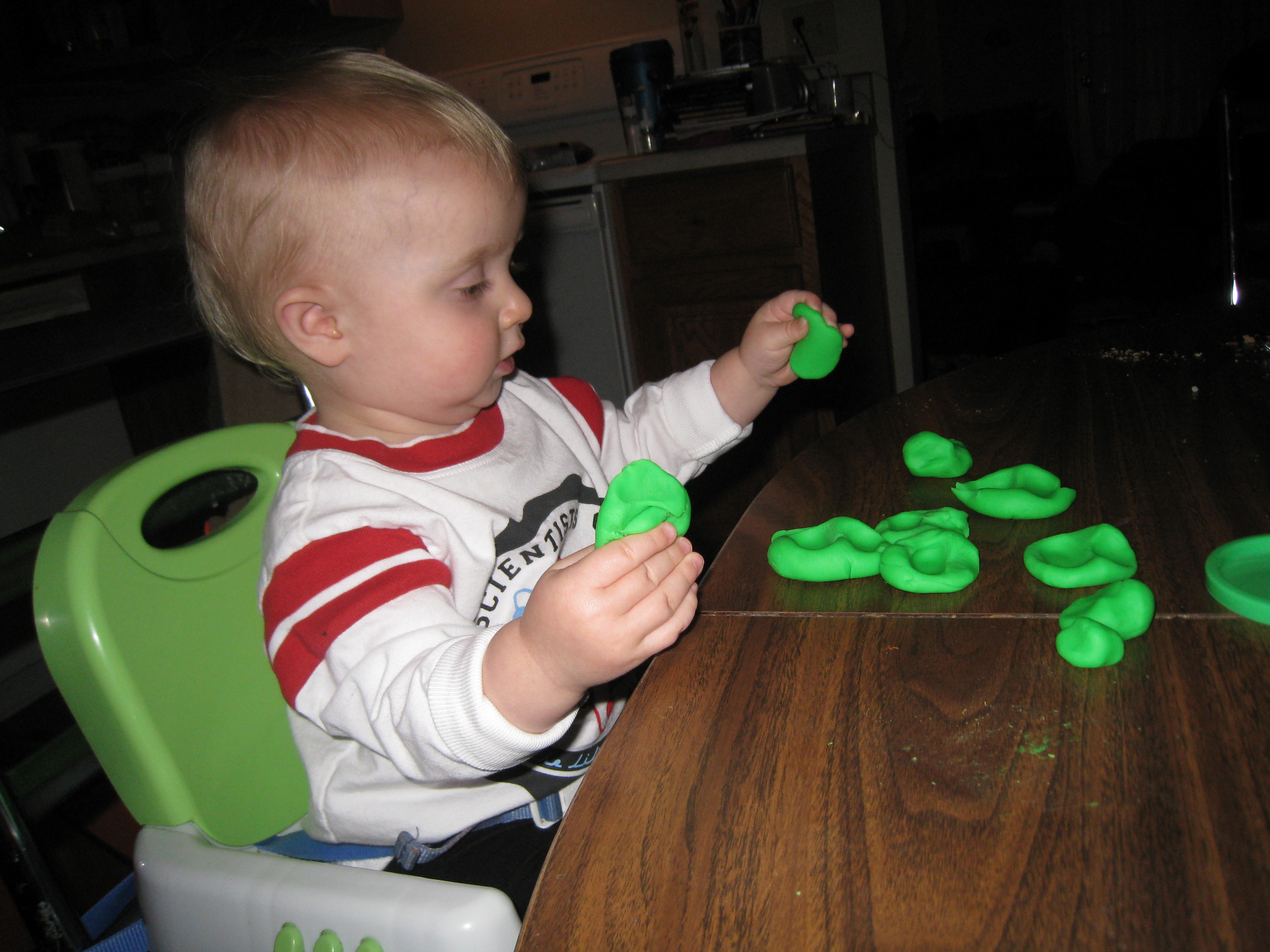 smushing playdough