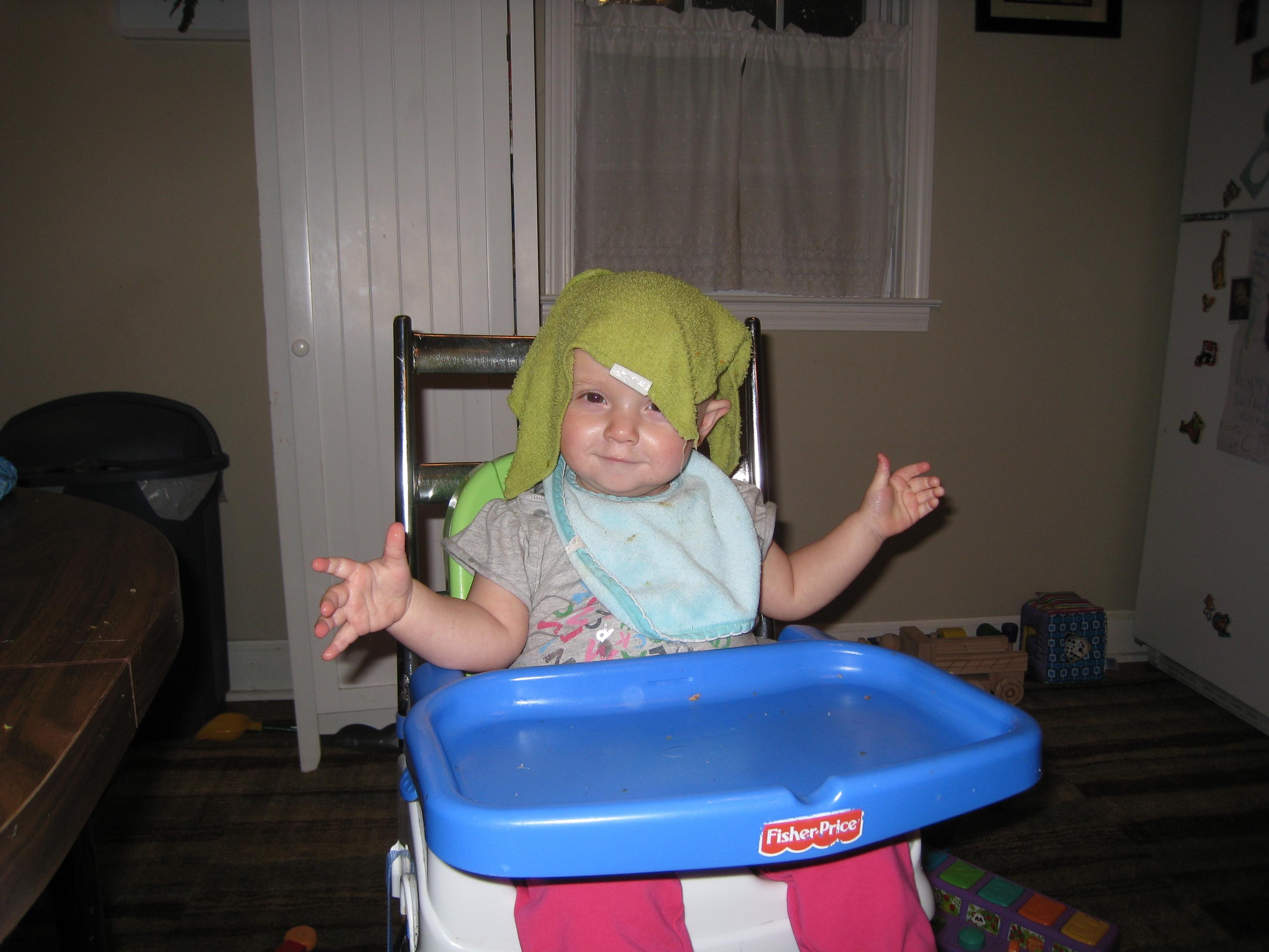wet cloth on head