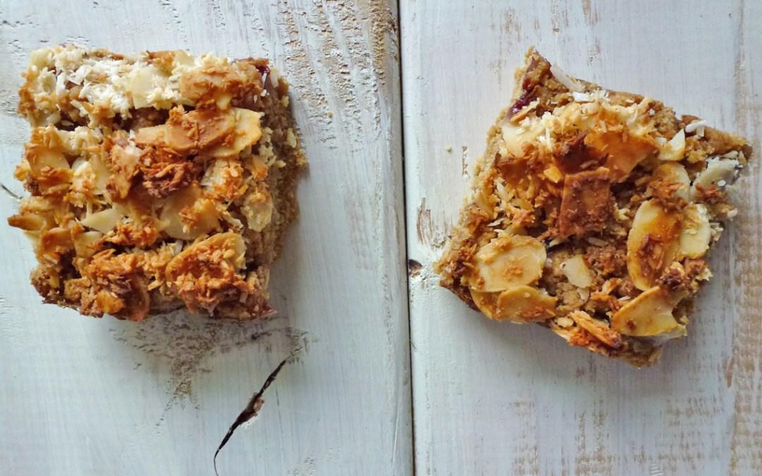 Carrés d'amande, noix de coco, framboise ( sans gluten, végétalien)