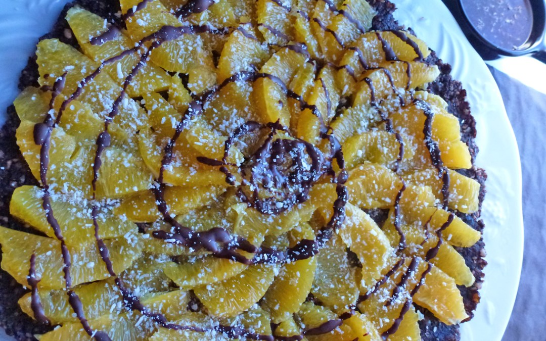 Tarte noix oranges et chocolat ( sans cuisson, sans céréales)