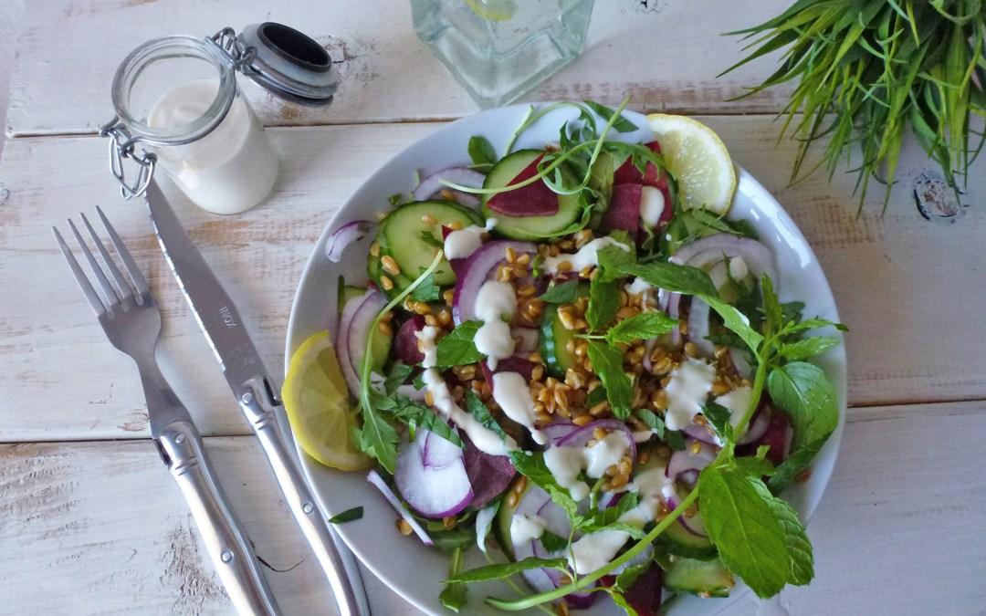 Salade de petit épeautre, sauce légère au fromage blanc de brebis