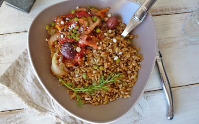 Poêlée de légumes au petit épeautre, avec  fenouil, poireaux et petits pois