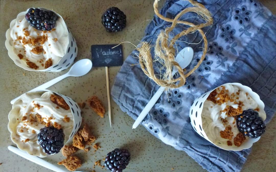 Frozen yogurt au soja ou un petit pot de crème  vanillée, accompagnée de mûres et de spéculos maison au petit épeautre  ( sans lactose )