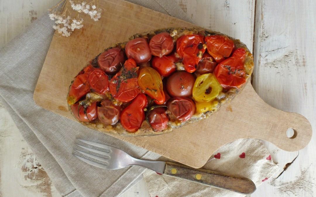 Tatin rustique de tomates cerises ( Sans gluten, vegan )