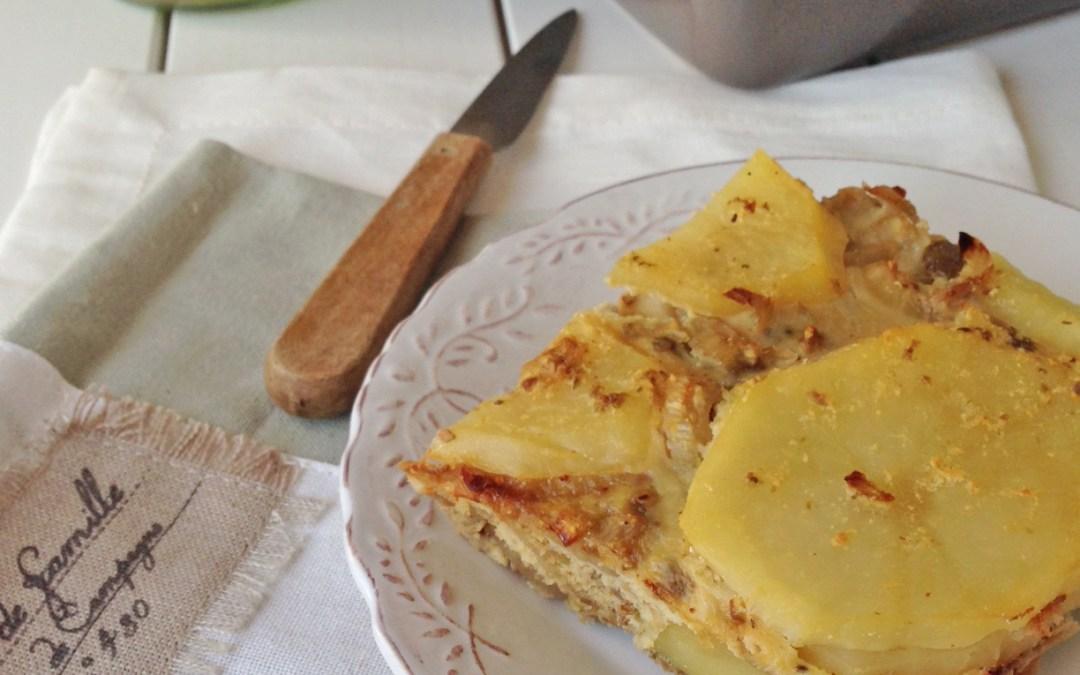 Clafouti de pommes de terre au fenouil et tapenade  ( Allégé, sans céréales, sans lactose )
