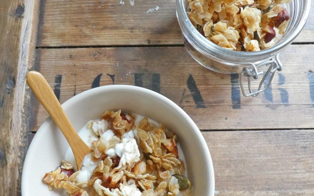 Granola croustillant, noisettes, coco, vanille  ( Sans gluten, vegan )