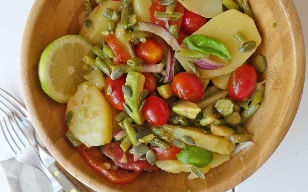 Salade de pommes de terre et vinaigrette au basilic  ( Vegan, sans céréales )