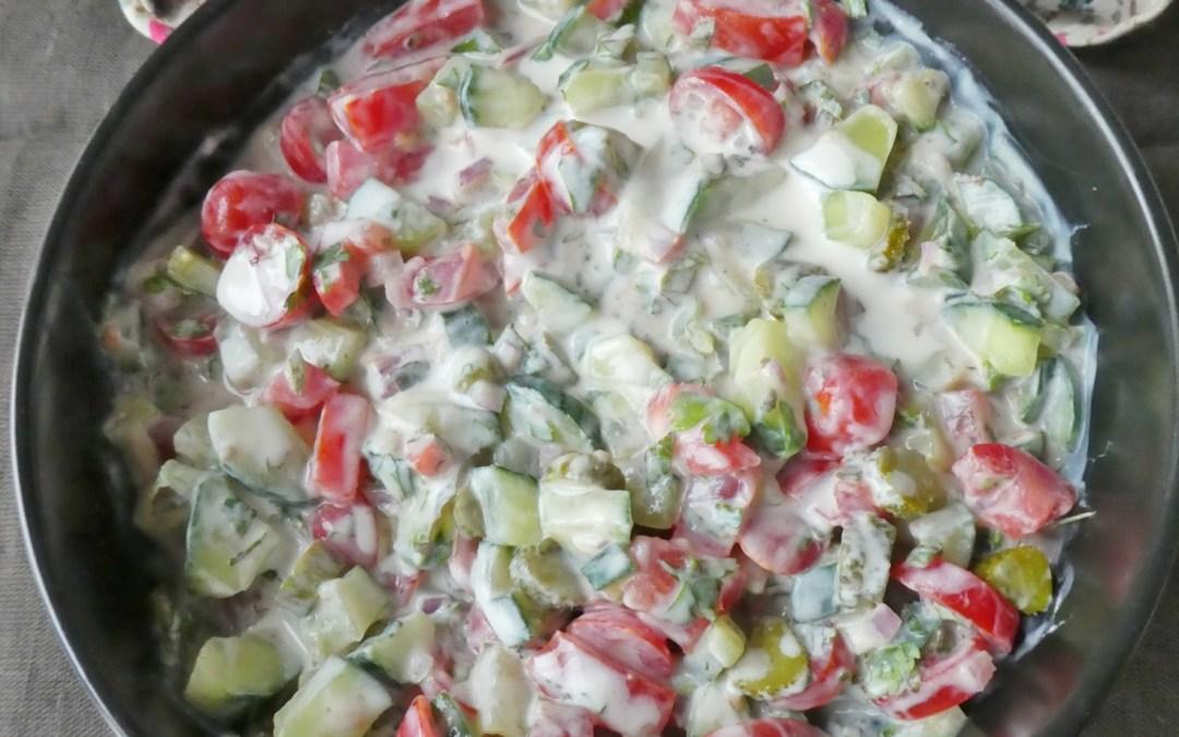 Inspiration raïta, au yaourt de soja  ( Vegan, sans céréales, léger )