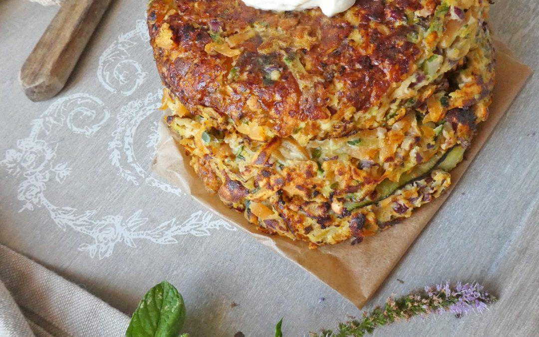 Galettes de légumes ( courgettes/patates douces ) au fromage de chèvre et menthe fraîche  ( Sans céréales)