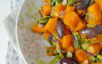Poêlée de légumes au butternut… et aux olives noires.
