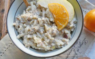 Faux porridge, aux pommes et purée d'amande  ( Sans céréales, sans cuisson, léger, détox, très bon… )