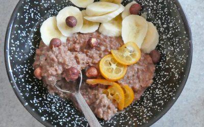 Porridge d'avoine cacao noisette, au petit goût de praliné… ( Vegan, sans sucre ajouté )