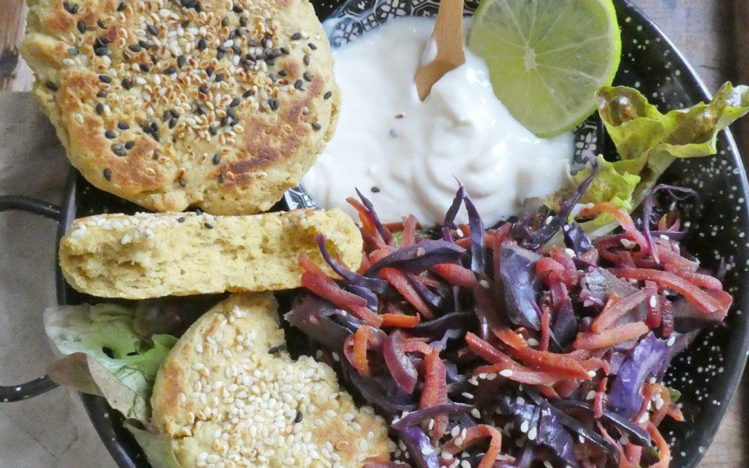 Petits «pains» express à la farine de riz et de pois chiche  ( Sans gluten, Vegan )