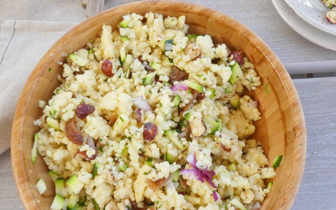 Salade de millet aux figues, noisettes et courgette ( Vegan, sans gluten )