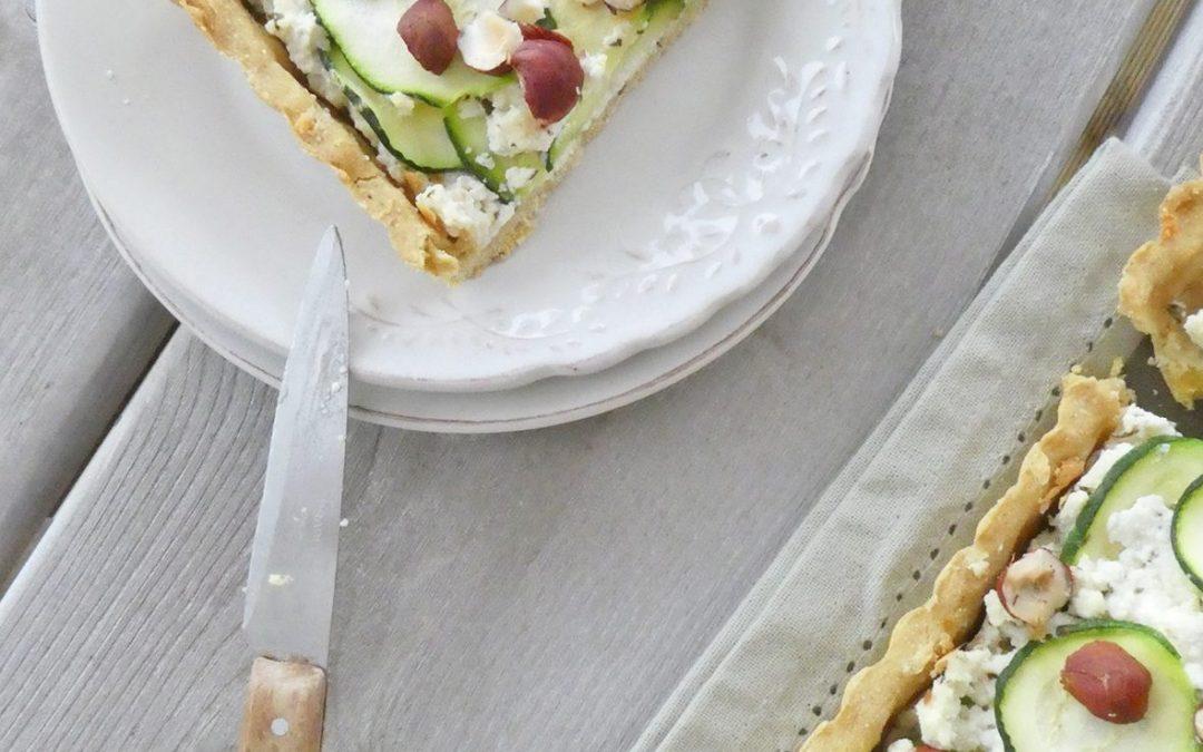 Tarte aux courgettes et à la brousse de brebis ( Faible index glycémique, sans oeufs, sans céréales )