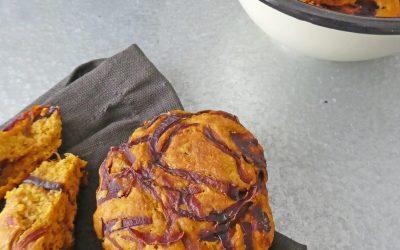 Petits pains express aux oignons rouges et potimarron  ( Vegan, index glycémique contrôlé )