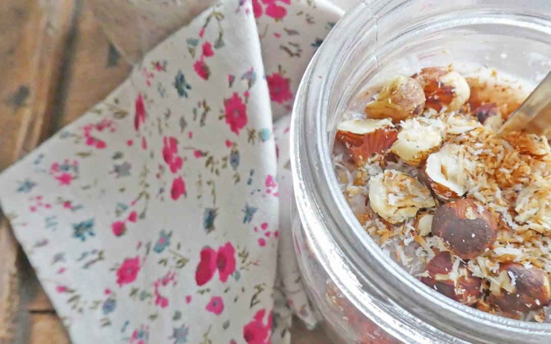 Quino-riz rouge au lait de noisette ( Sans sucre ajouté, sans gluten, vegan )