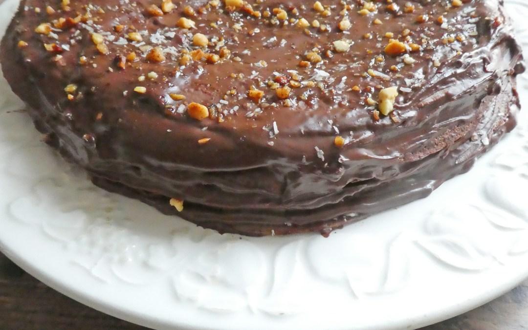 Gâteau de crêpes au chocolat, à la farine d'orge mondée  (Vegan, IG contrôlé )