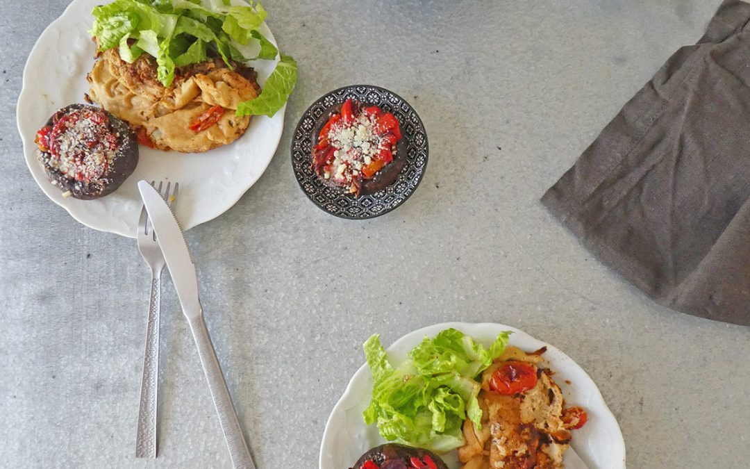 Omelette végétalienne aux légumes et champignons farcis ( idée repas, sans gluten )