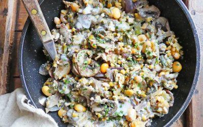 Poêlée végétale champignons, poireaux, riche en protéines ( Végan, sans céréales, sans gluten, index glycémique bas )