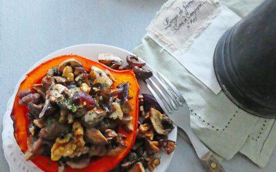 Potimarron farci aux champignons…( Végan, sans céréales, léger)
