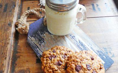 Cookies aux flocons  d'avoine, farine de riz, huile de noisette et chocolat