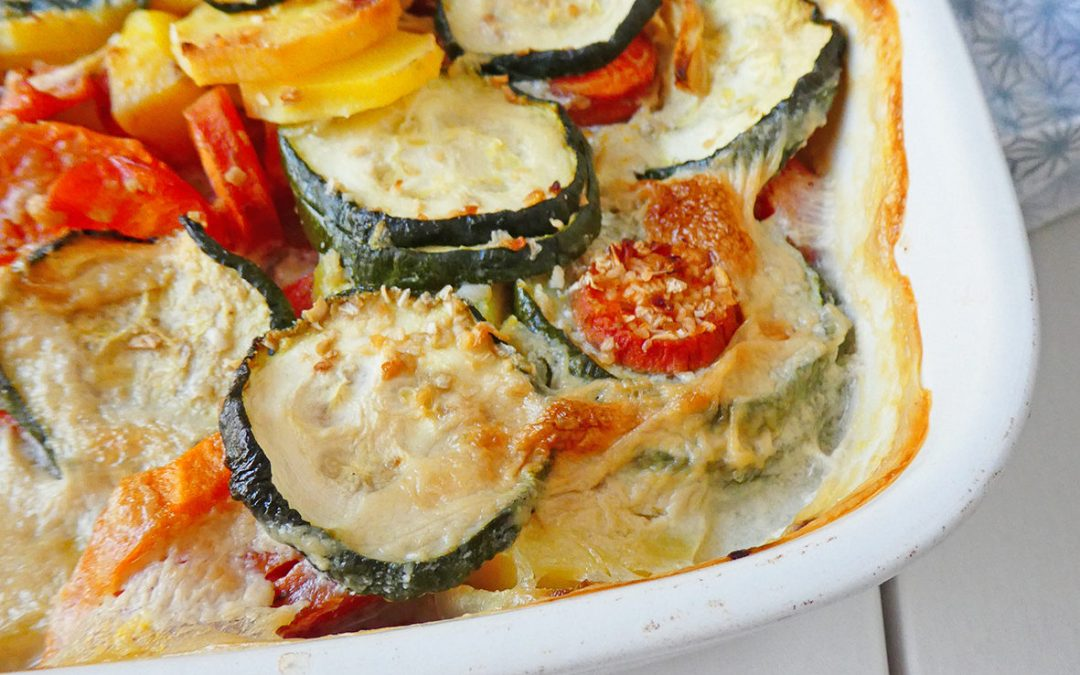 Gratin vegan de légumes, pommes de terre et patate douce ( Sans céréales, sans gluten, sans lactose, léger )
