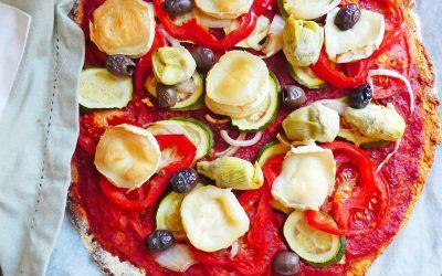 Pâte à pizza  à la patate douce, poudre d'amande et farine de pois chiche ( Sans oeuf, sans céréales, sans gluten, vegan ou pas )