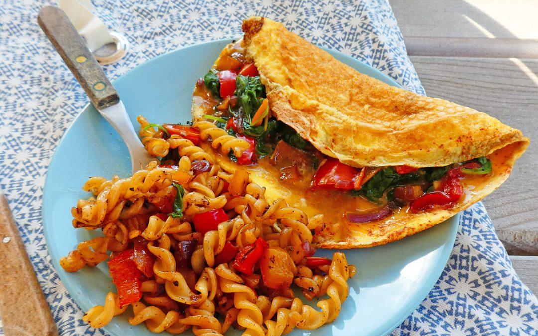 Idée repas simple autour des oeufs + légumes+ pâtes de lentilles ( Léger, sans céréales, sans gluten )