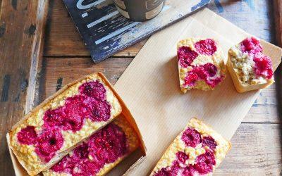 Lingots aux flocons d'avoine et framboises,  pour petit déjeuner sain à emporter ( Quasiment sans sucre ajouté )