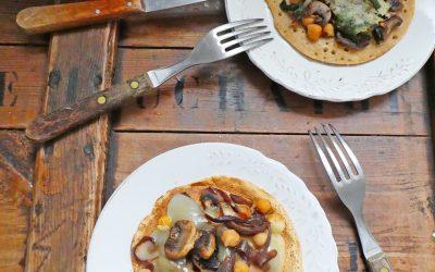 Mini crêpe au petit épeautre, légumes et tome de brebis