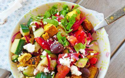 Salade composée végétarienne au tofu et Féta