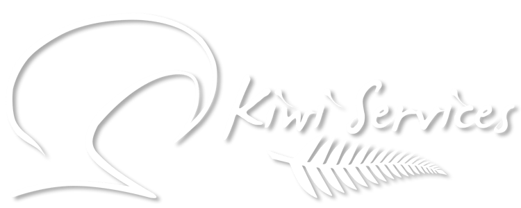 Image of a stylised Kiwi Bird, A silver fern and the words Kiwi Services