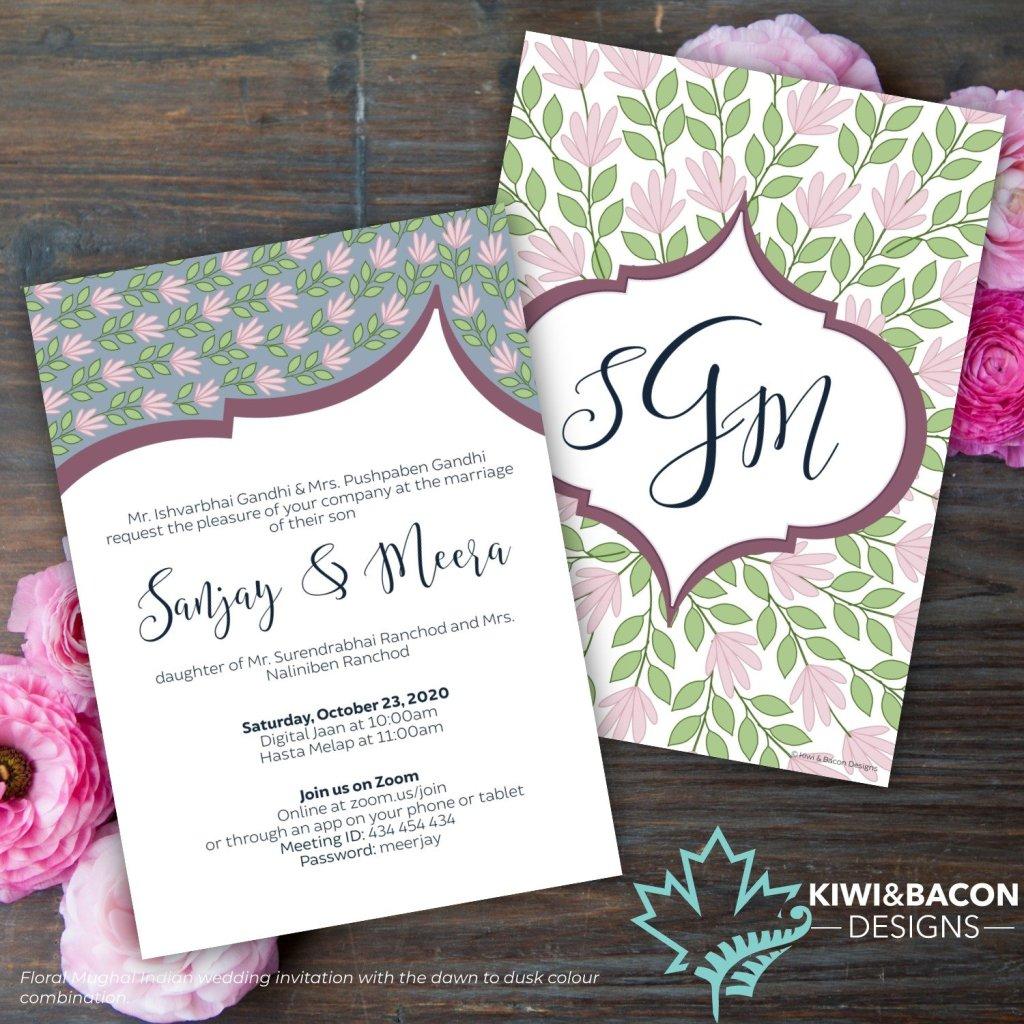 Floral Mughal Indian Wedding Invitation Dawn to Dusk