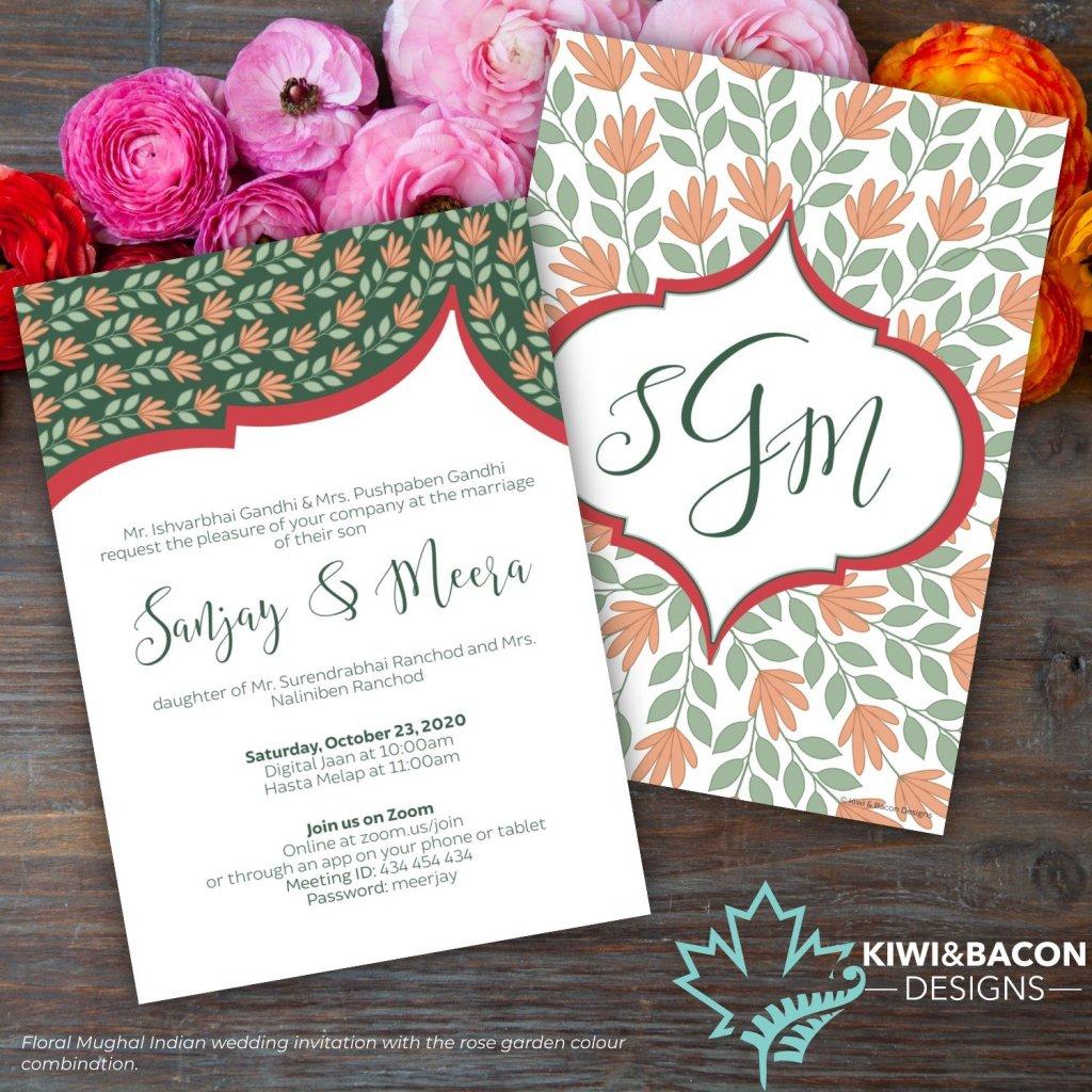 Floral Mughal Indian Wedding Invitation Rose Garden