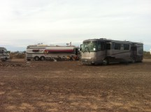 Setting up camp in the desert