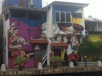 Murals beside the river