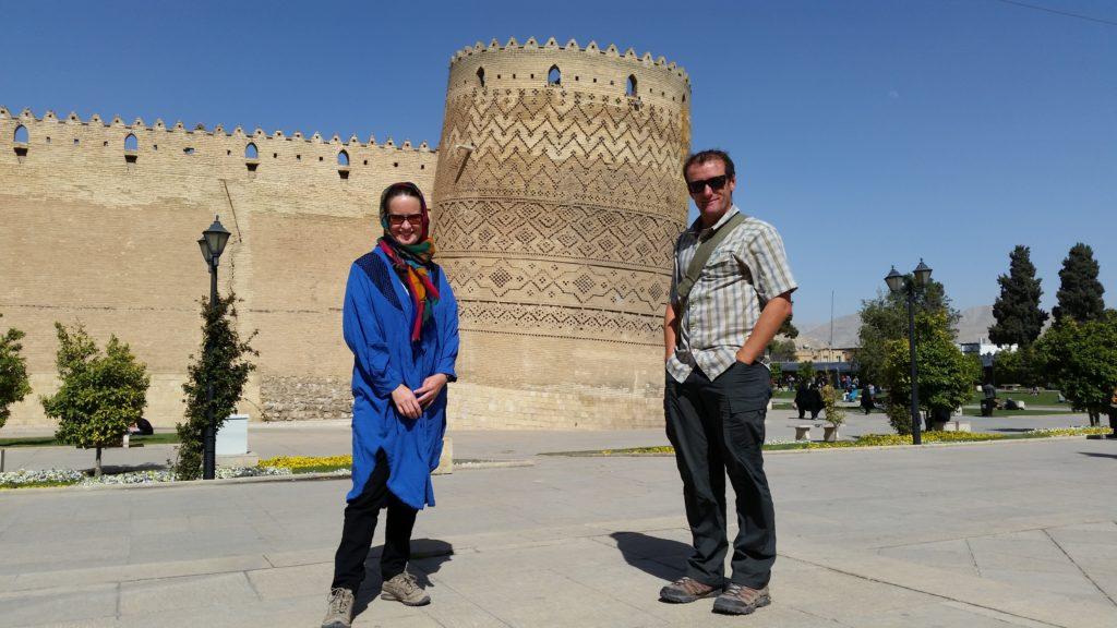 In front of the Karim Khan Citadel, downtown Shiraz.